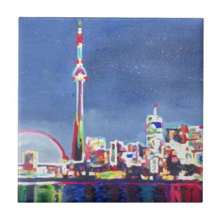 Toronto Neon Shimmering Skyline with CN Tower Tile
