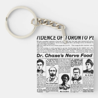 Toronto people vintage newspaper charm Double-Sided square acrylic key ring
