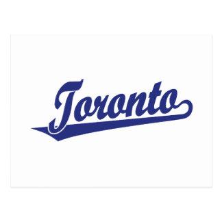 Toronto script logo in blue postcard