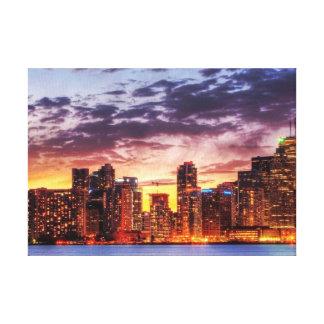 Toronto Sky Sunset Lit Premium Canvas Canvas Prints