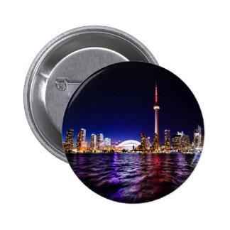 Toronto Skyline at Night 6 Cm Round Badge