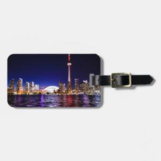 Toronto Skyline at Night Bag Tag