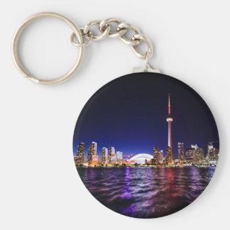 Toronto Skyline at Night Basic Round Button Key Ring