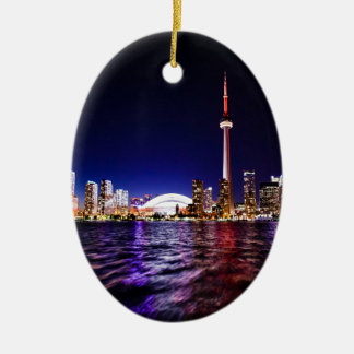 Toronto Skyline at Night Christmas Ornament
