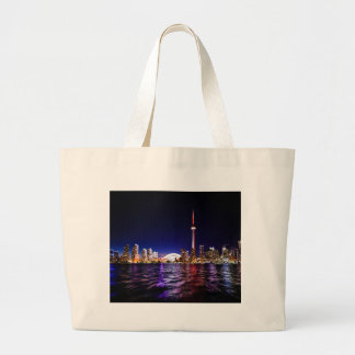 Toronto Skyline at Night Large Tote Bag