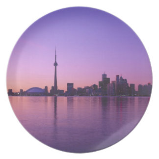 Toronto Skyline at night, Ontario, Canada Party Plate