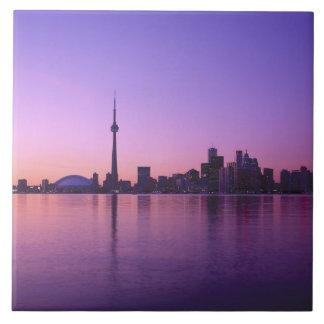 Toronto Skyline at night, Ontario, Canada Tile