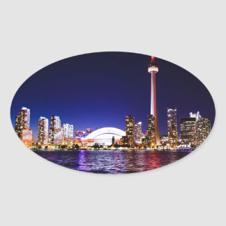 Toronto Skyline at Night Oval Sticker