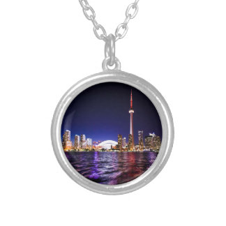 Toronto Skyline at Night Silver Plated Necklace