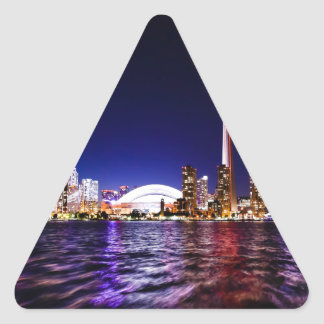 Toronto Skyline at Night Triangle Sticker