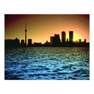 Toronto skyline at sunset, taken from Cherry Beach 21.5 Cm X 28 Cm Flyer
