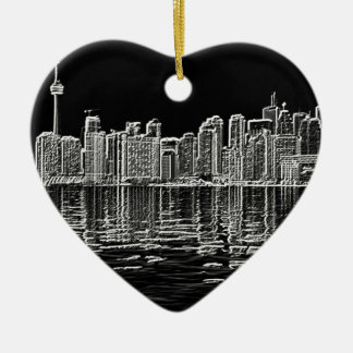 Toronto Skyline in Black and White Christmas Ornament