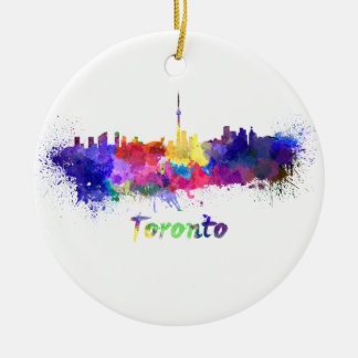 Toronto skyline in watercolor christmas ornament