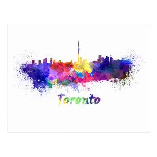 Toronto skyline in watercolor postcard