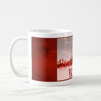 Toronto skyline with red grunge coffee mug