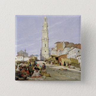 Torre dos Clerigos, Oporto, Portugal, 1837 (oil on 15 Cm Square Badge