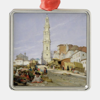 Torre dos Clerigos, Oporto, Portugal, 1837 (oil on Christmas Ornament