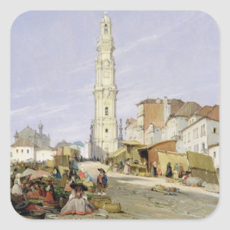 Torre dos Clerigos, Oporto, Portugal, 1837 (oil on Square Sticker