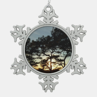 Torrey Pine Sunset II California Landscape Snowflake Pewter Christmas Ornament