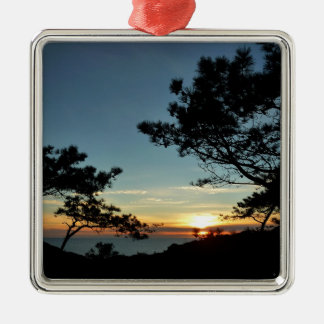 Torrey Pine Sunset III California Landscape Silver-Colored Square Decoration