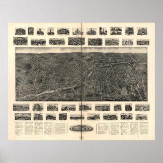Torrington Connecticut 1907 Antique Panoramic Map Poster