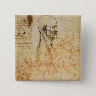 Torso of a Man in Profile, the Head Squared for Pr 15 Cm Square Badge