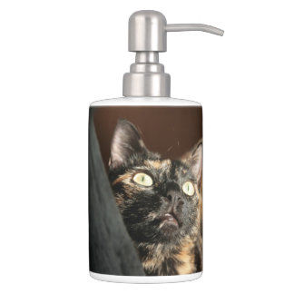 tortie cat soap more dispender & tooth brush bathroom set