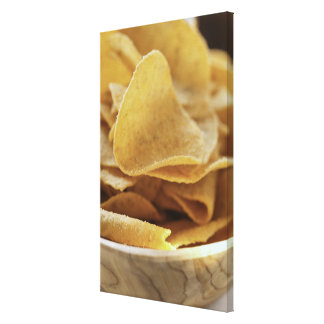 Tortilla chips in wooden bowl canvas print