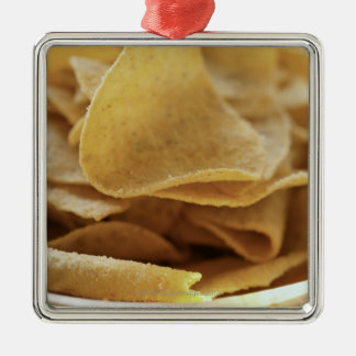 Tortilla chips in wooden bowl Silver-Colored square decoration