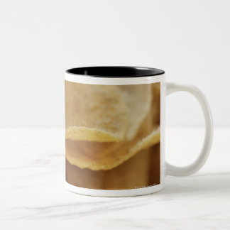 Tortilla chips in wooden bowl Two-Tone coffee mug