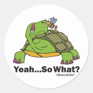Tortoise and Bee Classic Round Sticker