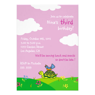 Tortoise and Bird - Kids birthday invitations-5