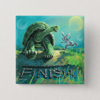 Tortoise and the Hare Art 15 Cm Square Badge