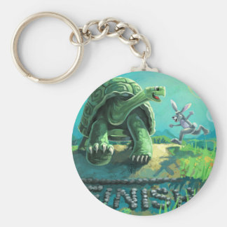 Tortoise and the Hare Art Basic Round Button Key Ring