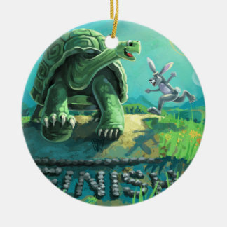 Tortoise and the Hare Art Christmas Ornament