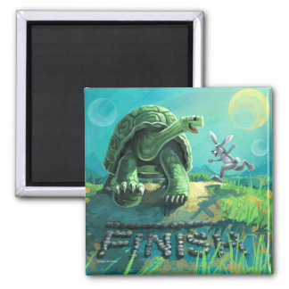 Tortoise and the Hare Art Square Magnet