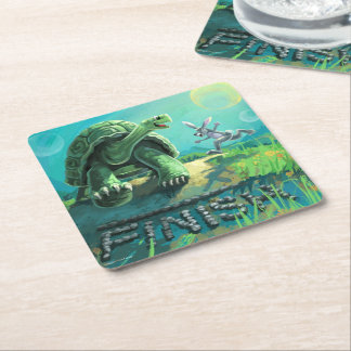 Tortoise and the Hare Art Square Paper Coaster