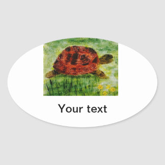 Tortoise Animal Art Oval Sticker