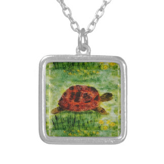 Tortoise Animal Art Silver Plated Necklace