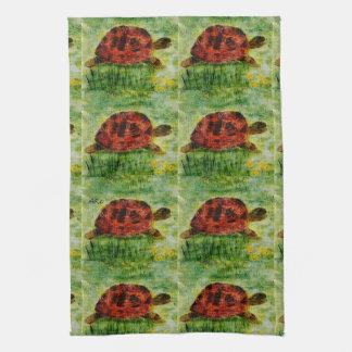 Tortoise Animal Art Tea Towel