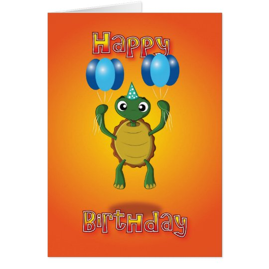 tortoise - balloons - happy birthday card