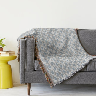Tortoise Hexagon Pattern Blue Grey Tan Throw Blanket