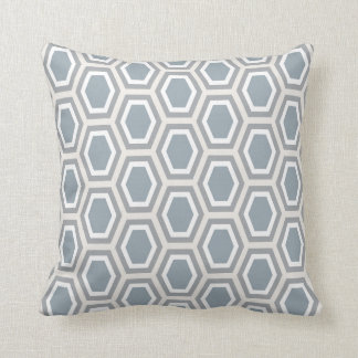 Tortoise Hexagon Pattern Blue Grey Tan White Cushion