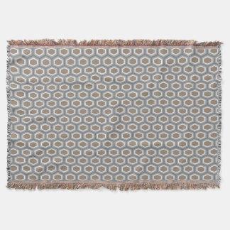 Tortoise Hexagon Pattern Brown Grey Throw Blanket