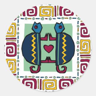 tortoise-in-love round sticker