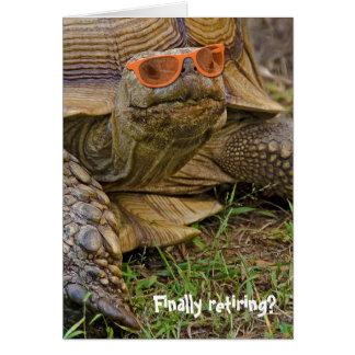 Tortoise in sunglasses for retirement card