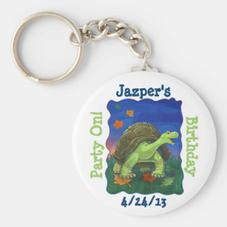 Tortoise Party Center Basic Round Button Key Ring