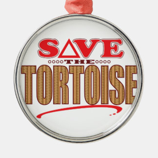 Tortoise Save Silver-Colored Round Decoration