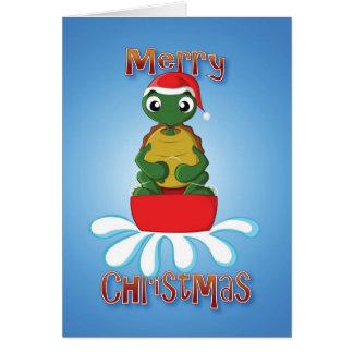 tortoise - sledge - merry christmas card