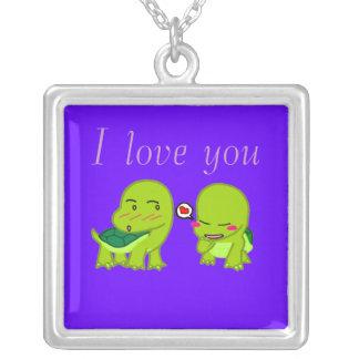 tortoises in luv square pendant necklace